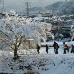 入選・中川よしを  雪の朝(金仙寺バス停から有馬川へ)