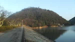 朝日に映える丸山です