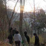 丸山山頂から初日の出見学者